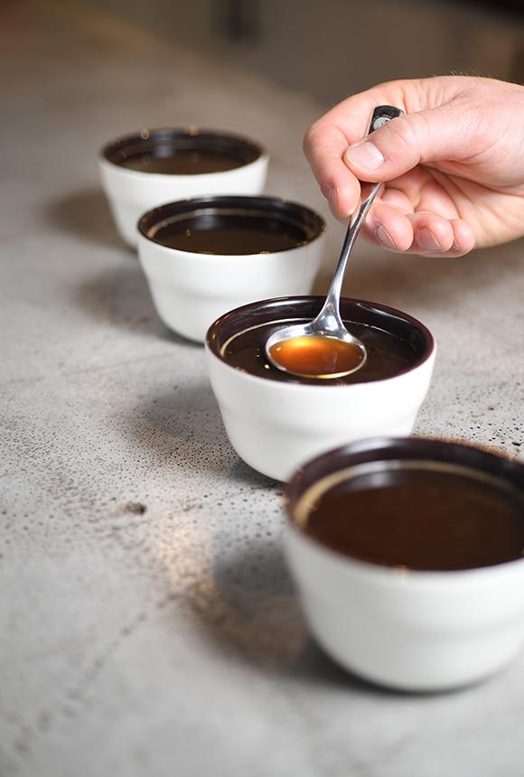 Tasting Freshly Brewed Coffee